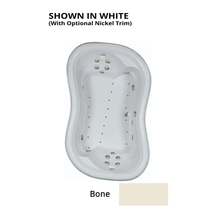 Watertech Whirlpool Baths Designer 78-in L x 52-in W x 26.75-in H 2-Person Bone Acrylic Hourglass Drop-in Whirlpool Tub and Air Bath