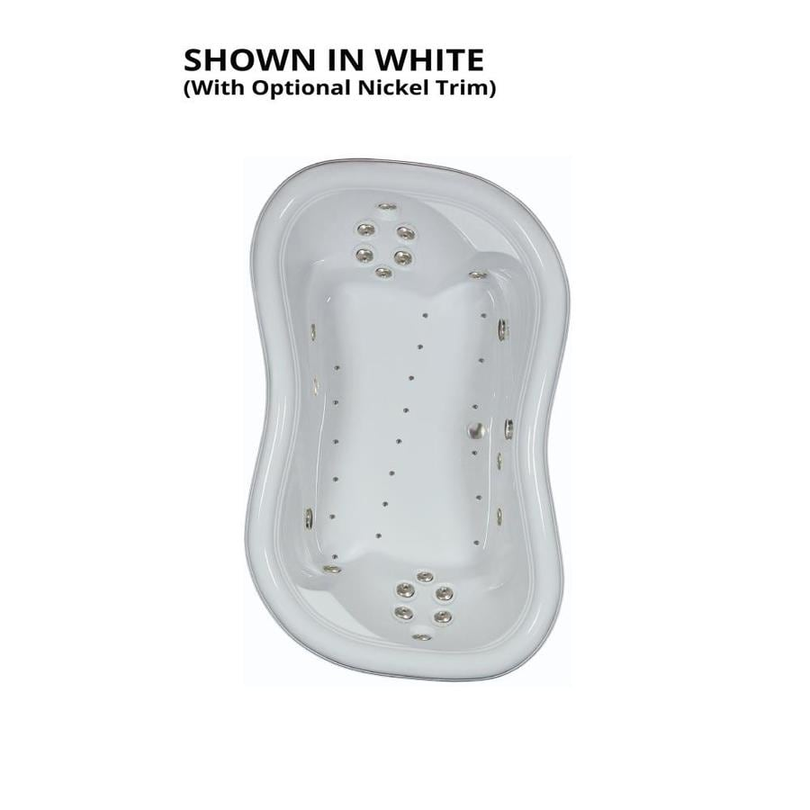 Watertech Whirlpool Baths Designer 78-in White Acrylic Drop-In Whirlpool Tub and Air Bath with Reversible Drain