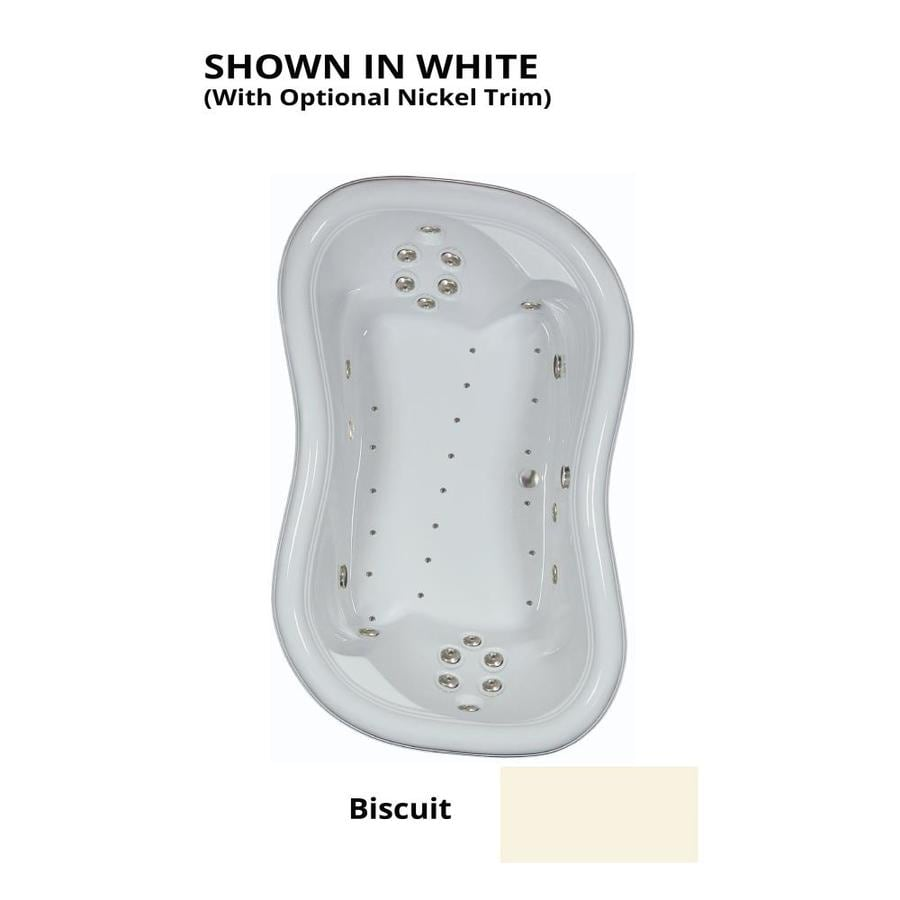 Watertech Whirlpool Baths Designer 78-in L x 52-in W x 26.75-in H 2-Person Biscuit Acrylic Hourglass Drop-in Whirlpool Tub and Air Bath