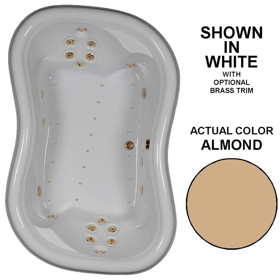 Watertech Whirlpool Baths Designer 78-in Almond Acrylic Drop-In Whirlpool Tub and Air Bath with Reversible Drain