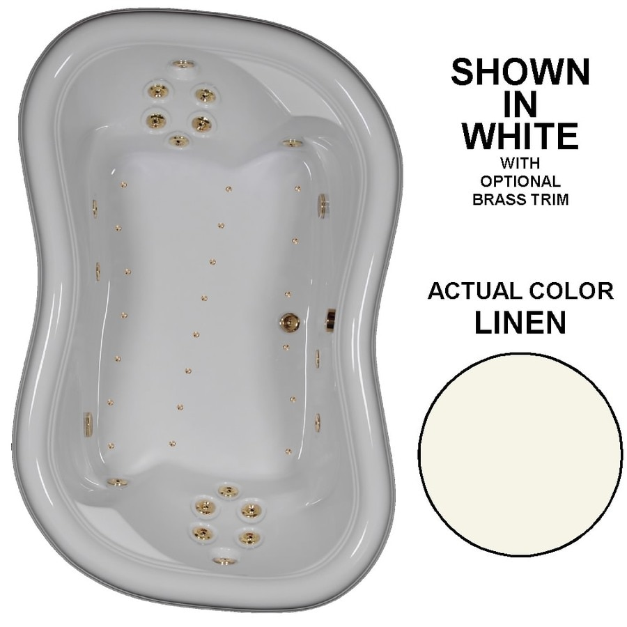 Watertech Whirlpool Baths Designer 78-in Linen Acrylic Drop-In Whirlpool Tub and Air Bath with Reversible Drain