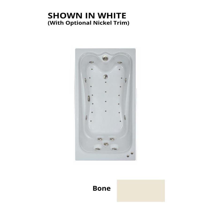 Watertech Whirlpool Baths Elite 60-in Bone Acrylic Drop-In Whirlpool Tub and Air Bath with Reversible Drain