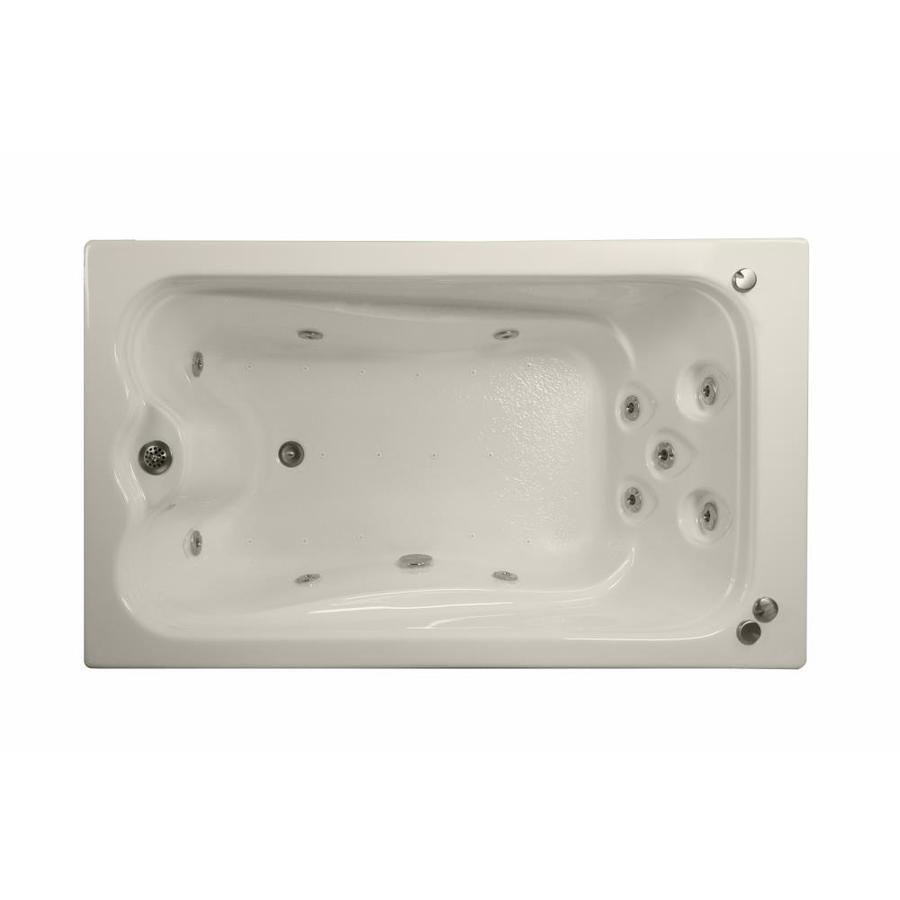 Watertech Whirlpool Baths Elite 60-in Biscuit Acrylic Drop-In Whirlpool Tub and Air Bath with Reversible Drain