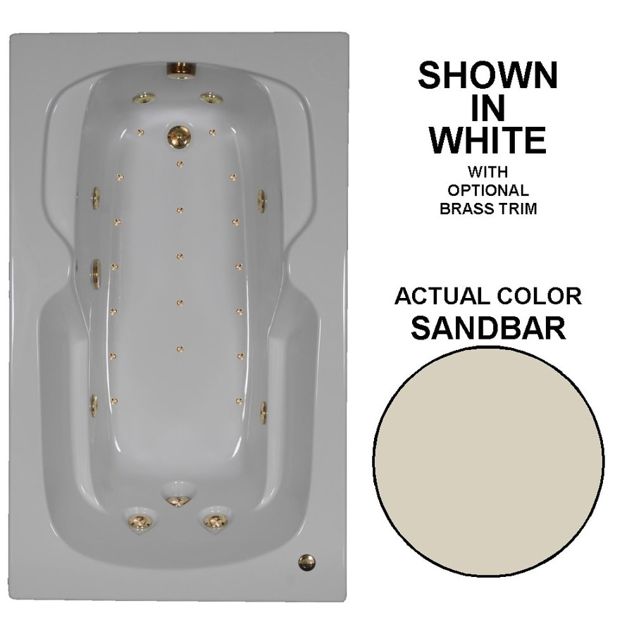 Watertech Whirlpool Baths Designer 60-in Sandbar Acrylic Drop-In Whirlpool Tub and Air Bath with Reversible Drain