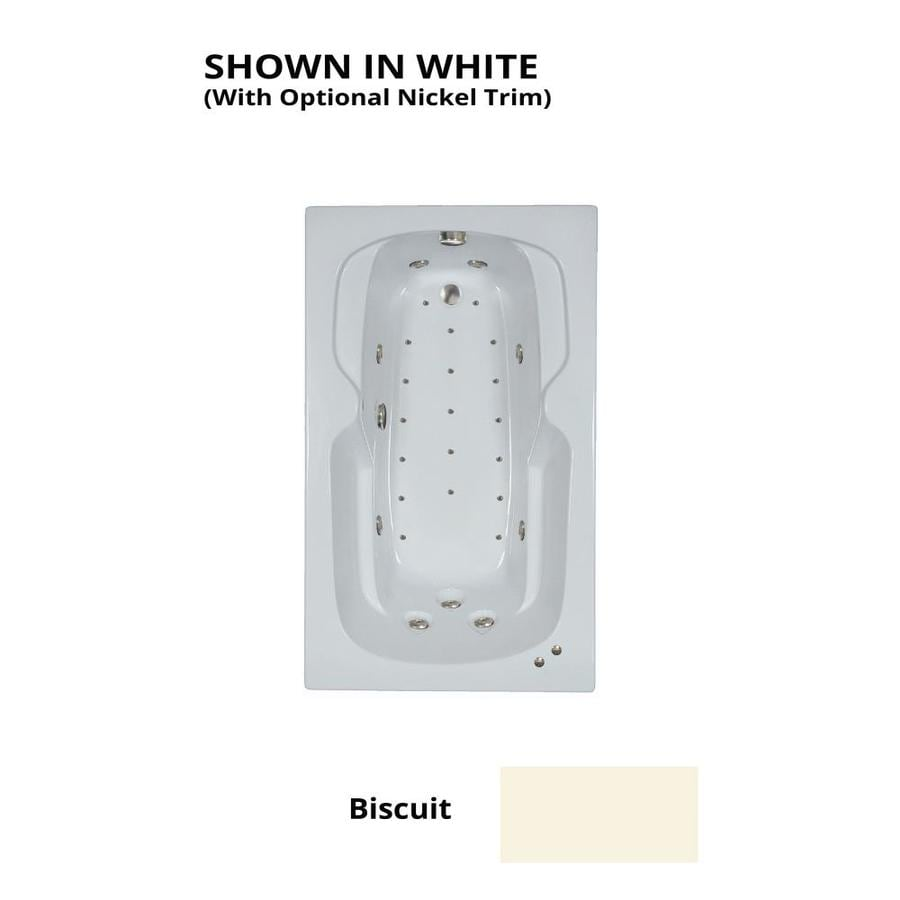 Watertech Whirlpool Baths Designer 60-in Biscuit Acrylic Drop-In Whirlpool Tub And Air Bath with Reversible Drain