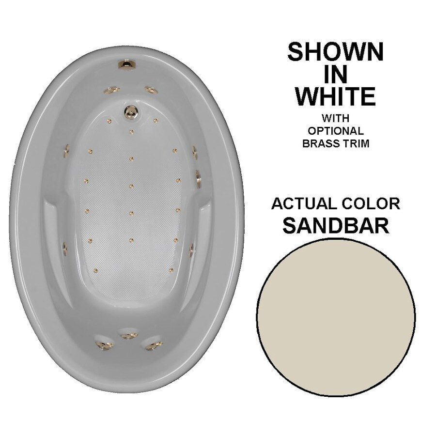 Watertech Whirlpool Baths Designer 60-in Sandbar Acrylic Drop-In Whirlpool Tub and Air Bath with Reversible Drain