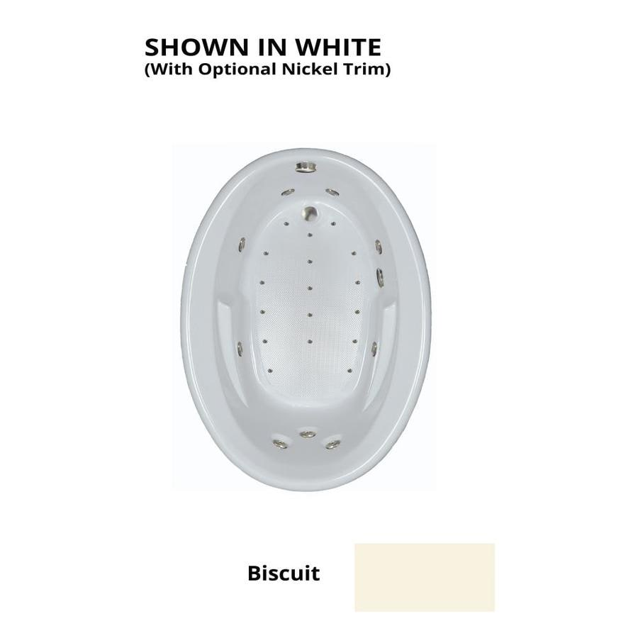 Watertech Whirlpool Baths Designer 60-in L x 42-in W x 22.5-in H Biscuit Acrylic Oval Drop-in Whirlpool Tub and Air Bath
