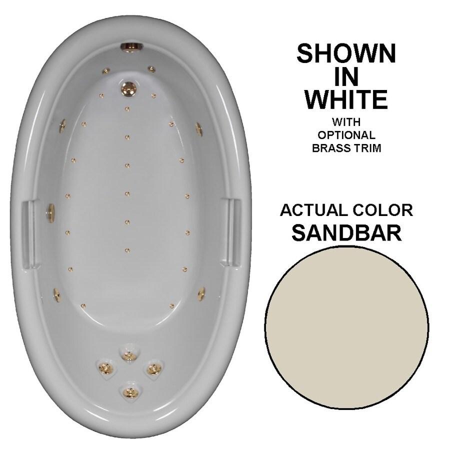 Watertech Whirlpool Baths Designer 72-in L x 42-in W x 23.75-in H Sandbar Acrylic Oval Drop-in Whirlpool Tub and Air Bath