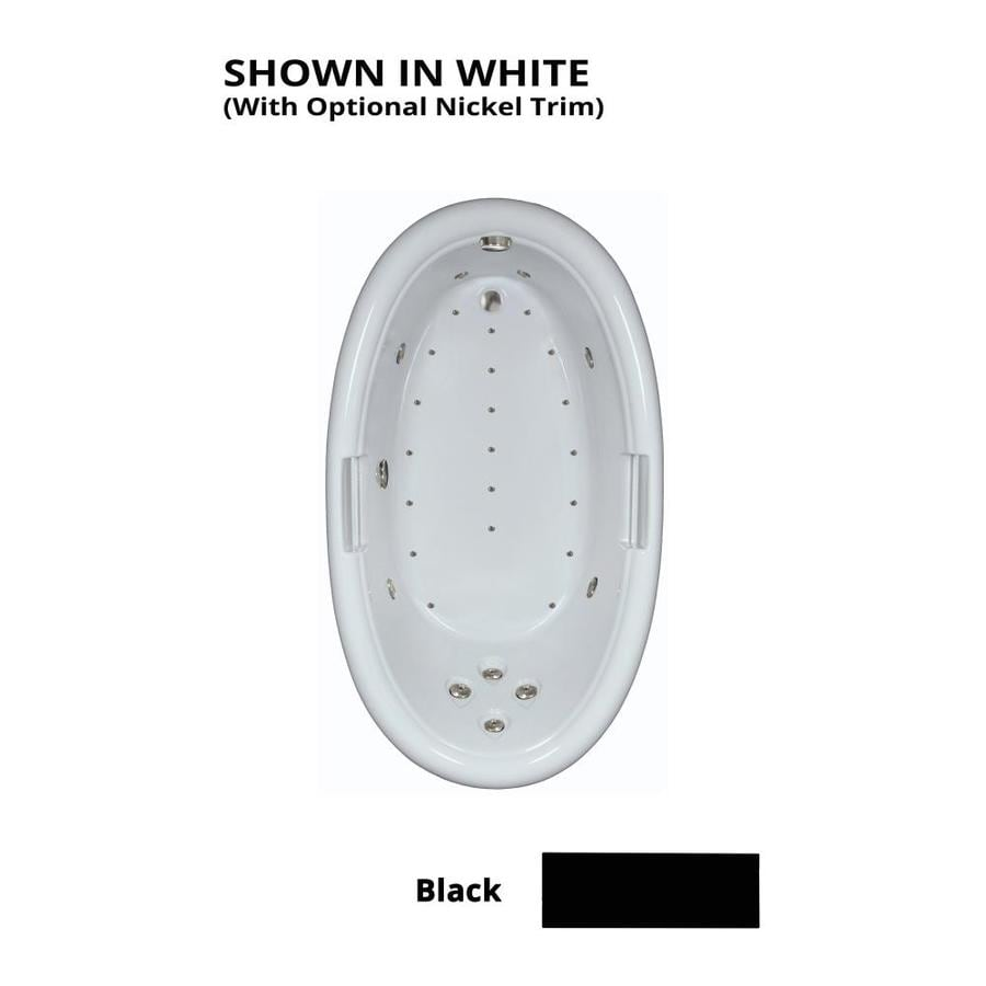 Watertech Whirlpool Baths Designer 72-in Black Acrylic Drop-In Whirlpool Tub And Air Bath with Reversible Drain