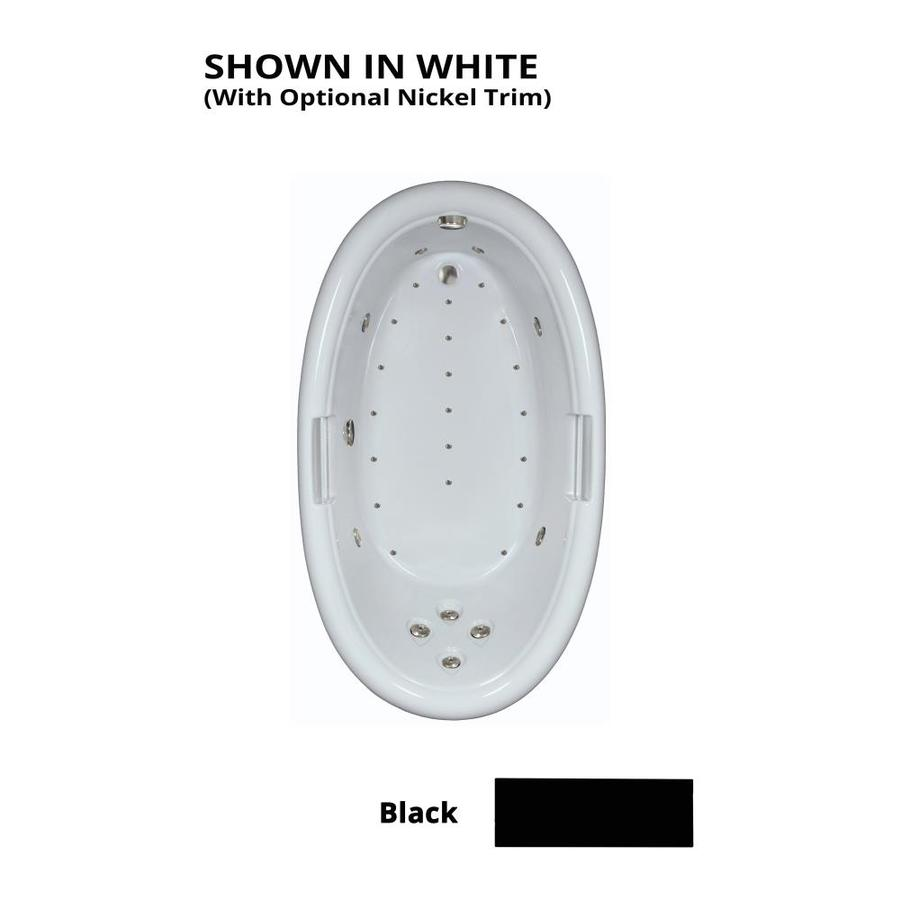 Watertech Whirlpool Baths Designer 72-in L x 42-in W x 22.25-in H Black Acrylic Oval Drop-in Whirlpool Tub and Air Bath