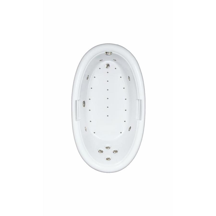 Watertech Whirlpool Baths Designer 72-in L x 42-in W x 22.25-in H White Acrylic Oval Drop-in Whirlpool Tub and Air Bath