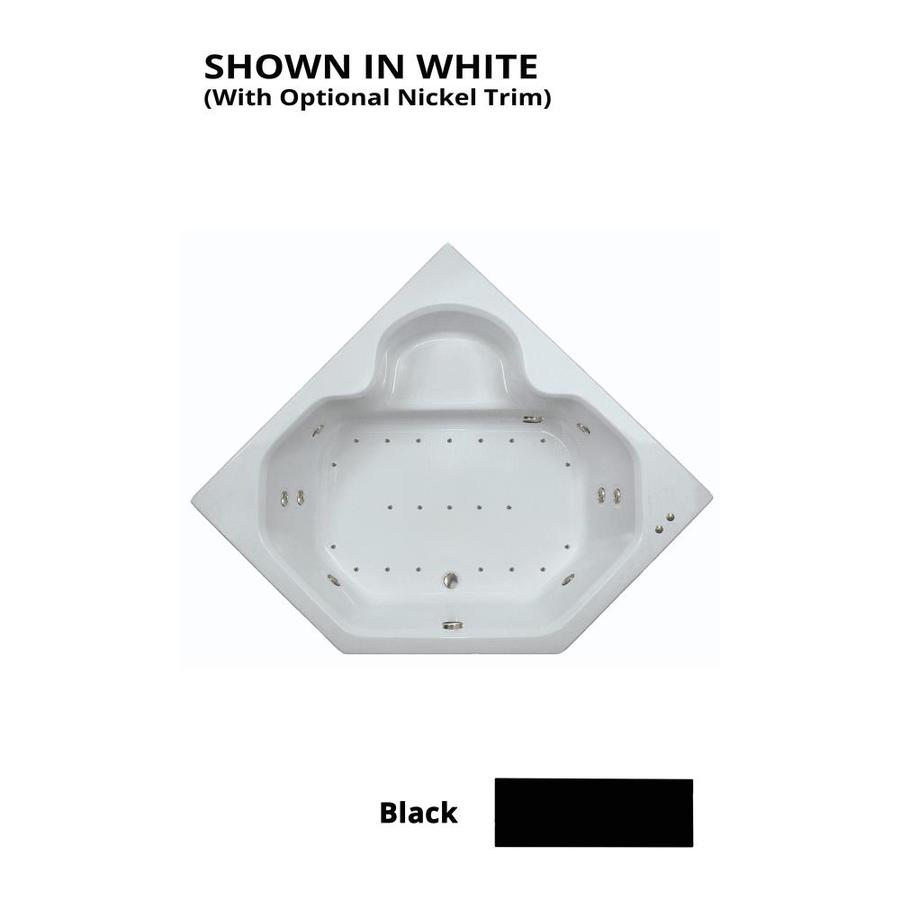 Watertech Whirlpool Baths Designer 60-in Black Acrylic Drop-In Whirlpool Tub and Air Bath with Front Center Drain