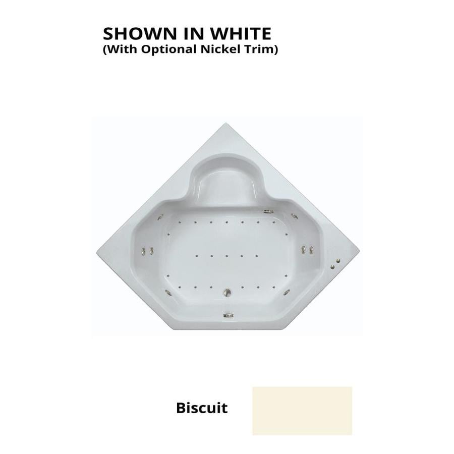 Watertech Whirlpool Baths Designer 60-in Biscuit Acrylic Drop-In Whirlpool Tub and Air Bath with Front Center Drain
