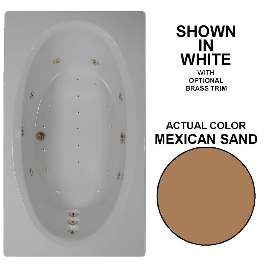 Watertech Whirlpool Baths Designer 72-in Mexican Sand Acrylic Drop-In Whirlpool Tub and Air Bath with Reversible Drain