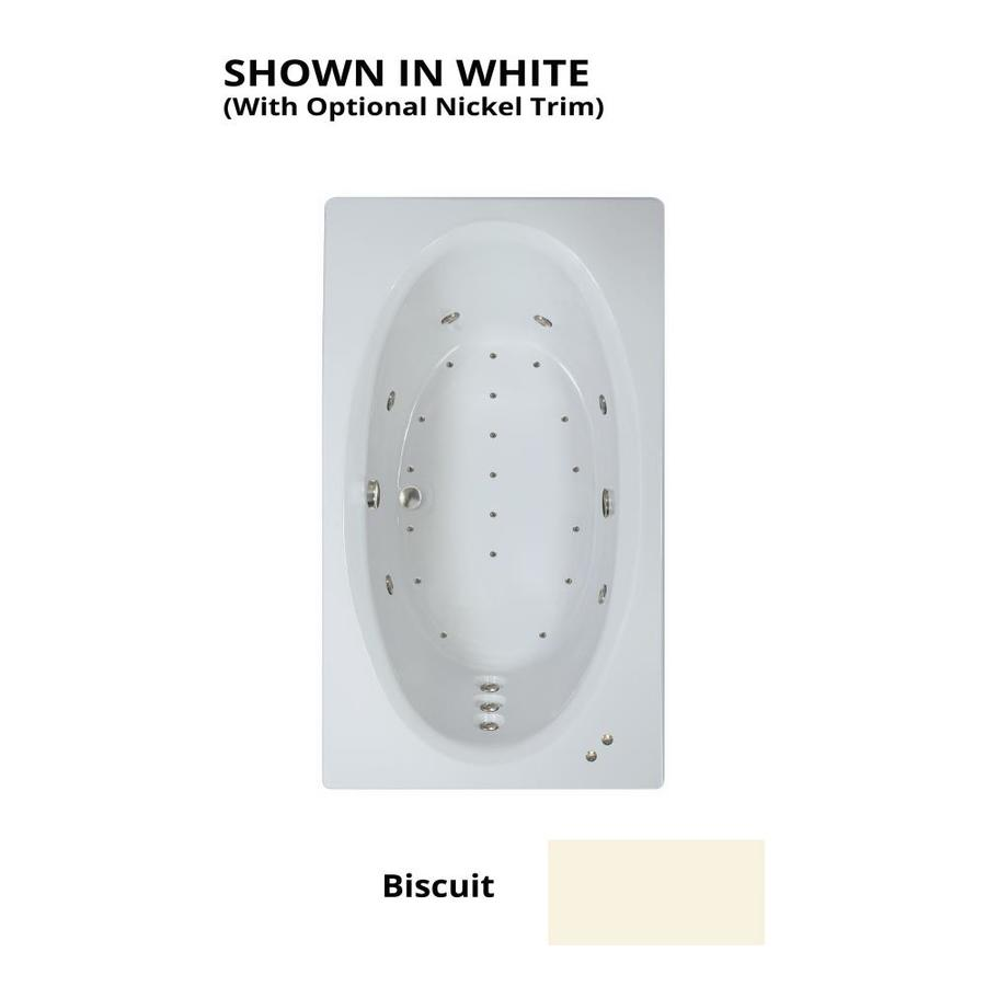 Watertech Whirlpool Baths Designer 72-in Biscuit Acrylic Drop-In Whirlpool Tub And Air Bath with Reversible Drain