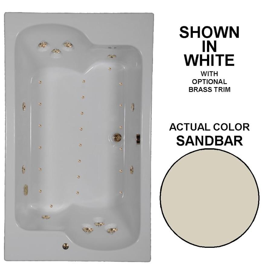 Watertech Whirlpool Baths Designer 72-in Sandbar Acrylic Drop-In Whirlpool Tub and Air Bath with Reversible Drain