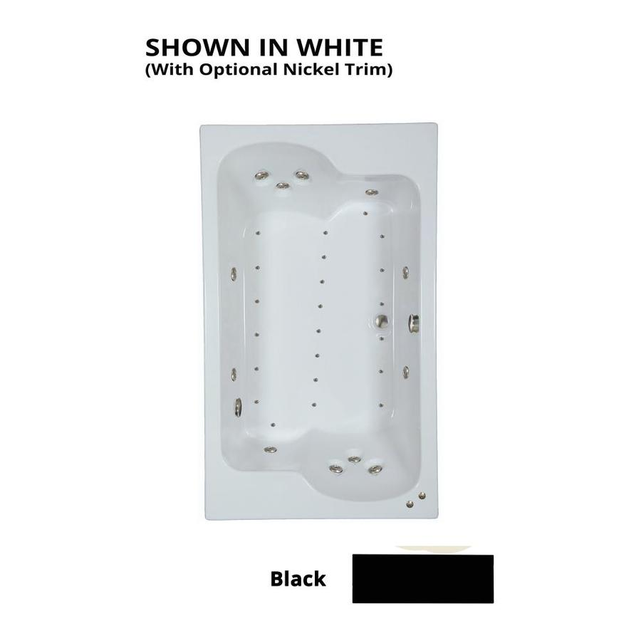 Watertech Whirlpool Baths Designer 72-in L x 43-in W x 24.5-in H 2-Person Black Acrylic Rectangular Drop-in Whirlpool Tub and Air Bath