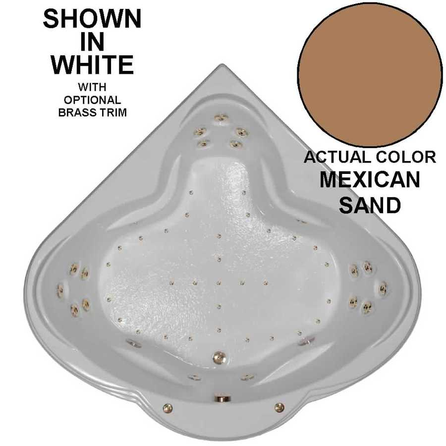 Watertech Whirlpool Baths Designer 62-in Mexican Sand Acrylic Drop-In Whirlpool Tub and Air Bath with Front Center Drain