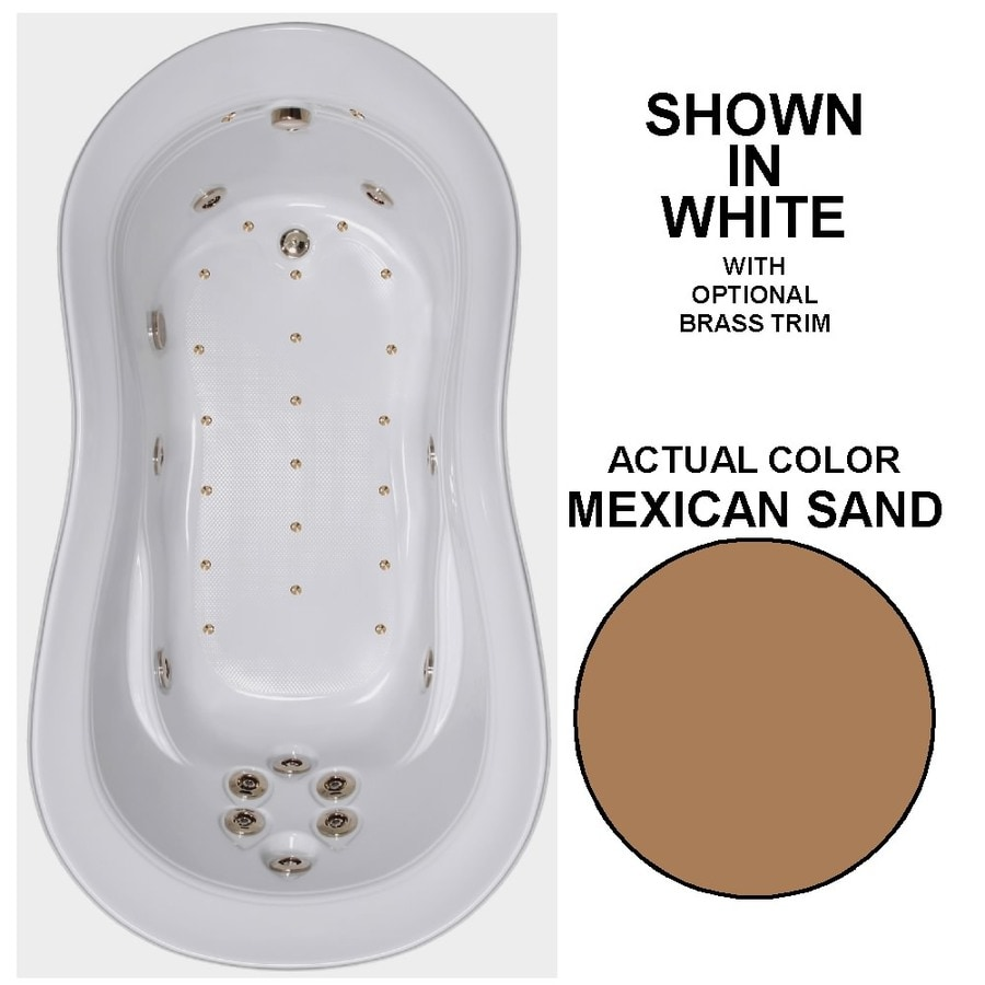 Watertech Whirlpool Baths Designer 74-in Mexican Sand Acrylic Drop-In Whirlpool Tub and Air Bath with Reversible Drain