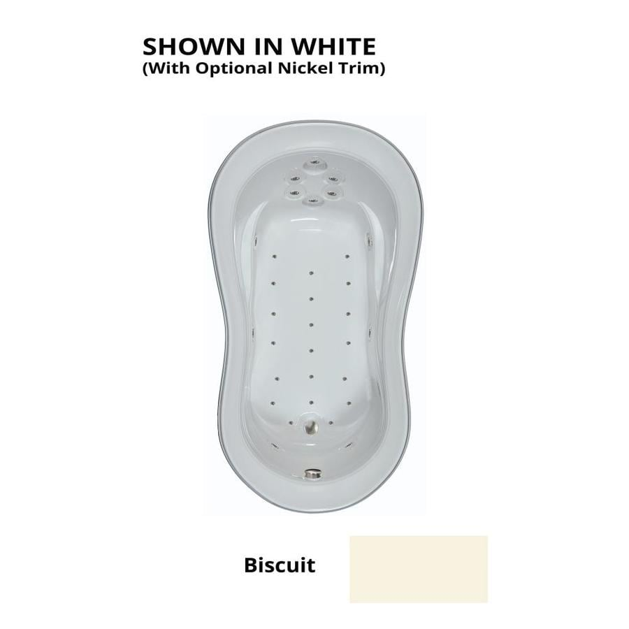 Watertech Whirlpool Baths 74-in Biscuit Acrylic Drop-In Air Bath with Reversible Drain