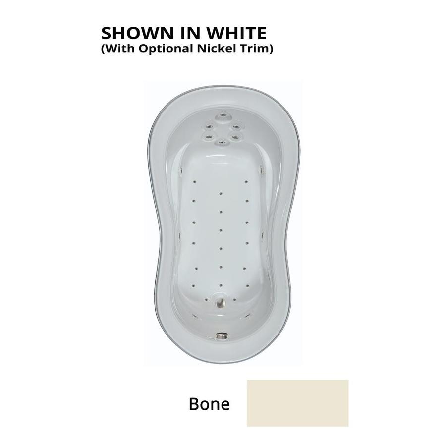 Watertech Whirlpool Baths 74-in Bone Acrylic Drop-In Air Bath with Reversible Drain