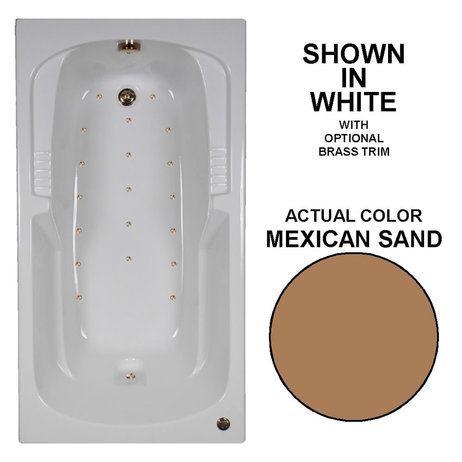 Watertech Whirlpool Baths 60-in L x 32-in W x 21-in H Mexican Sand Acrylic Rectangular Drop-in Air Bath