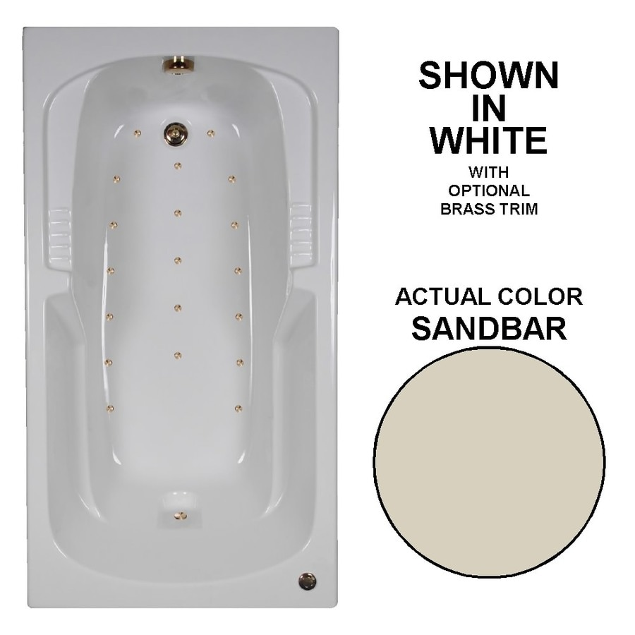 Watertech Whirlpool Baths 60-in Sandbar Acrylic Drop-In Air Bath with Reversible Drain