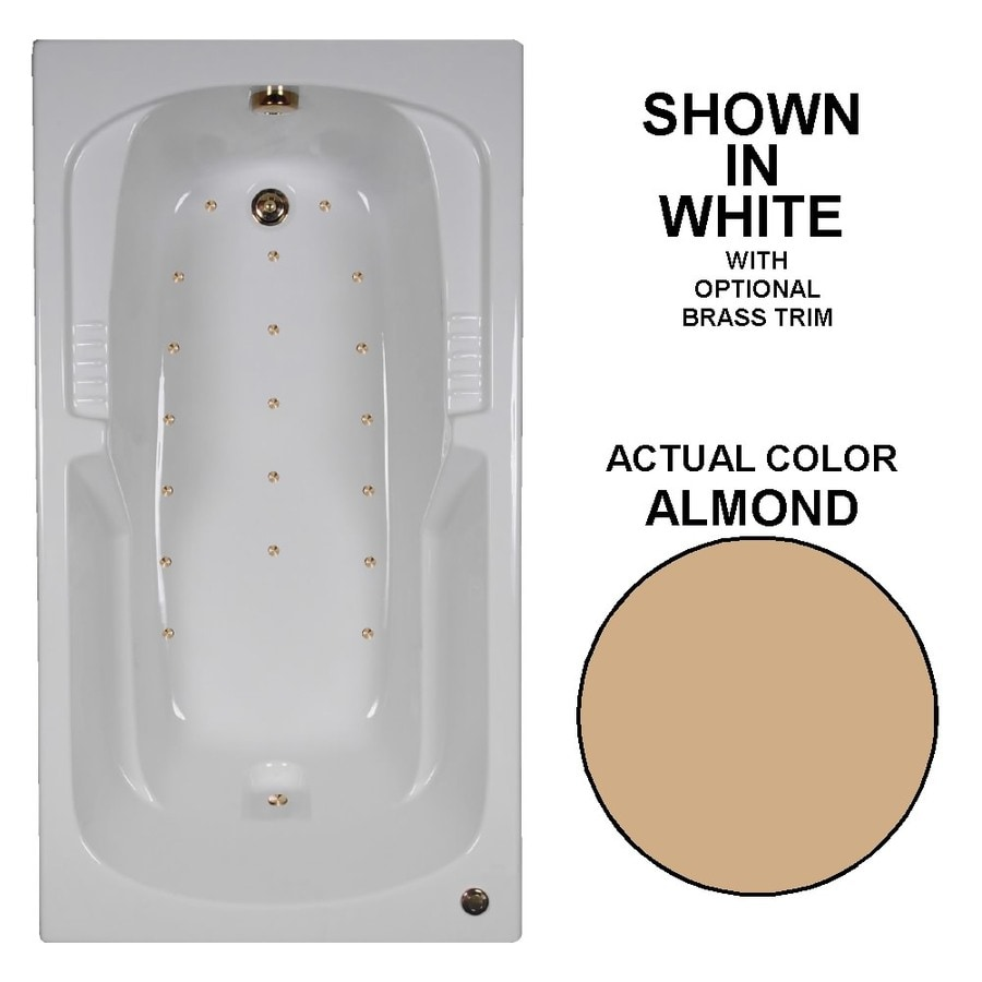 Watertech Whirlpool Baths 60-in Almond Acrylic Drop-In Air Bath with Reversible Drain