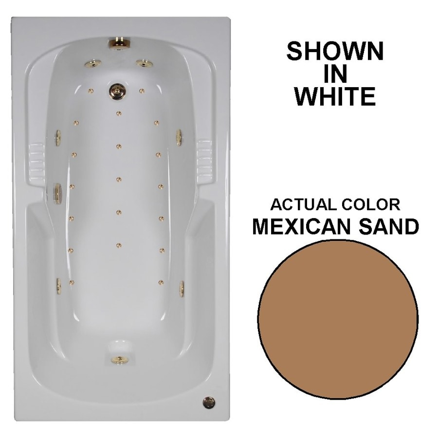 Watertech Whirlpool Baths Designer 60-in Mexican Sand Acrylic Drop-In Whirlpool Tub and Air Bath with Reversible Drain