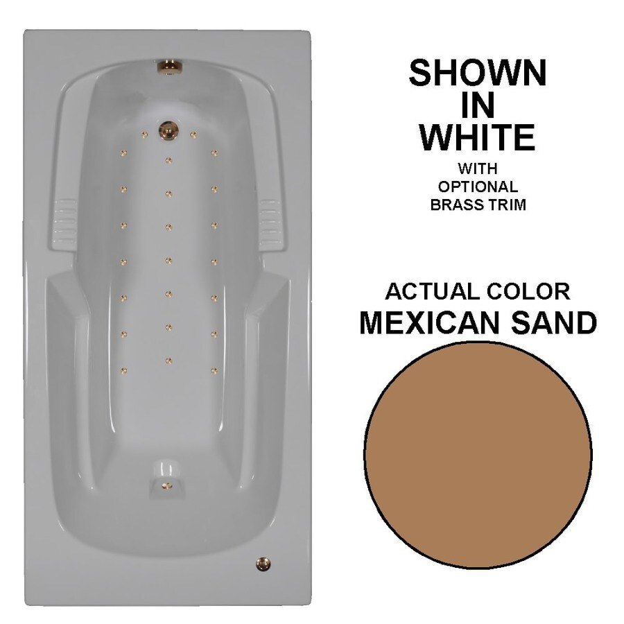 Watertech Whirlpool Baths 72-in L x 36-in W x 21-in H Mexican Sand Acrylic Rectangular Drop-in Air Bath