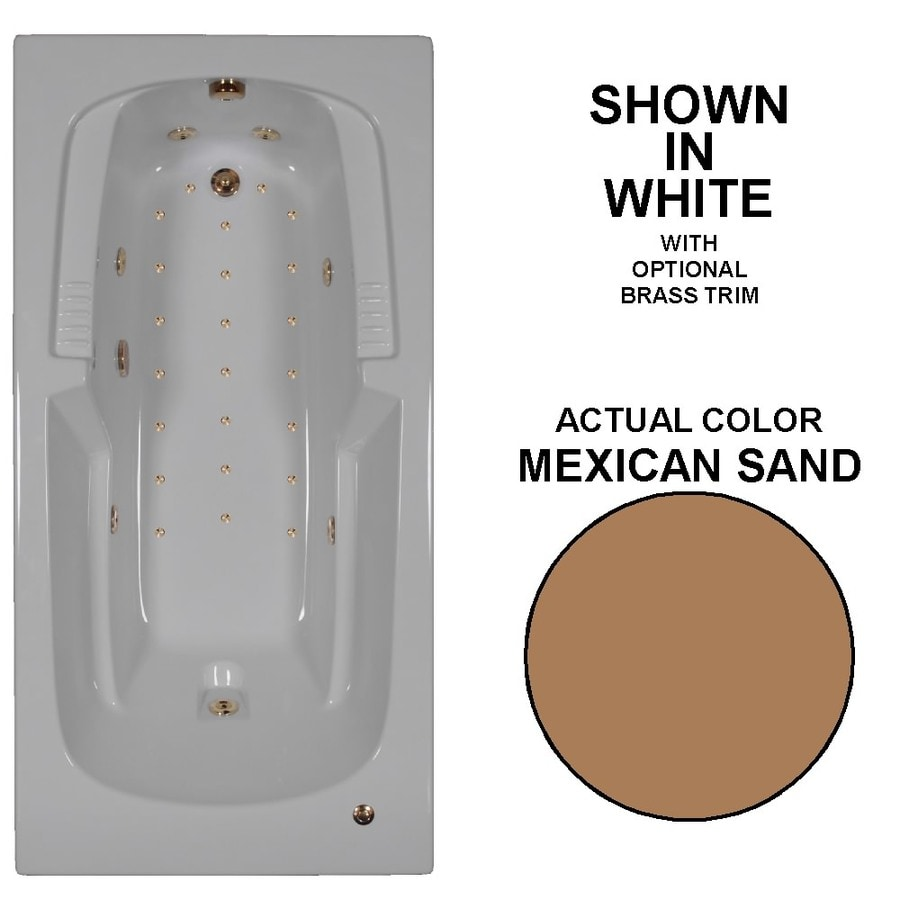 Watertech Whirlpool Baths Designer 72-in L x 36-in W x 21-in H Mexican Sand Acrylic Rectangular Drop-in Whirlpool Tub and Air Bath