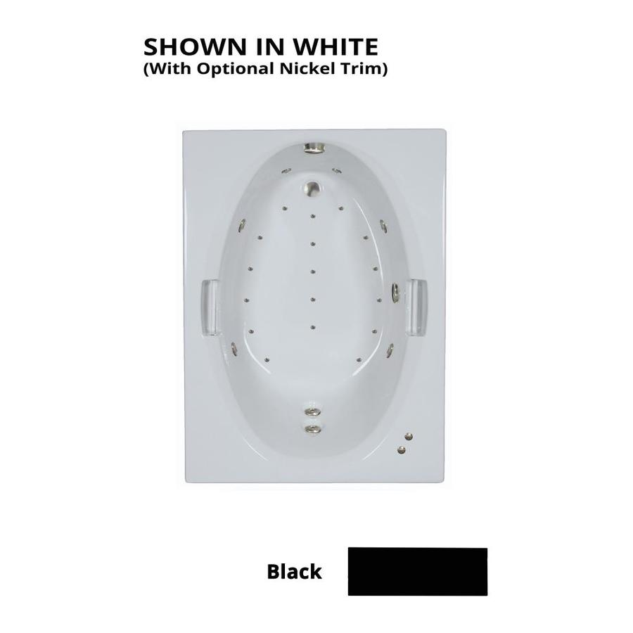 Watertech Whirlpool Baths Designer 60-in Black Acrylic Drop-In Whirlpool Tub And Air Bath with Reversible Drain