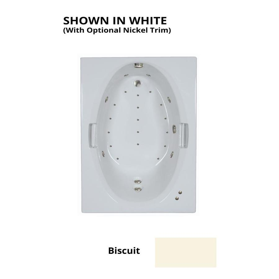Watertech Whirlpool Baths Designer 60-in L x 42-in W x 21.5-in H Biscuit Acrylic Oval In Rectangle Drop-in Whirlpool Tub and Air Bath