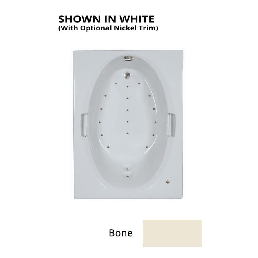 Watertech Whirlpool Baths 60-in Bone Acrylic Drop-In Air Bath with Reversible Drain