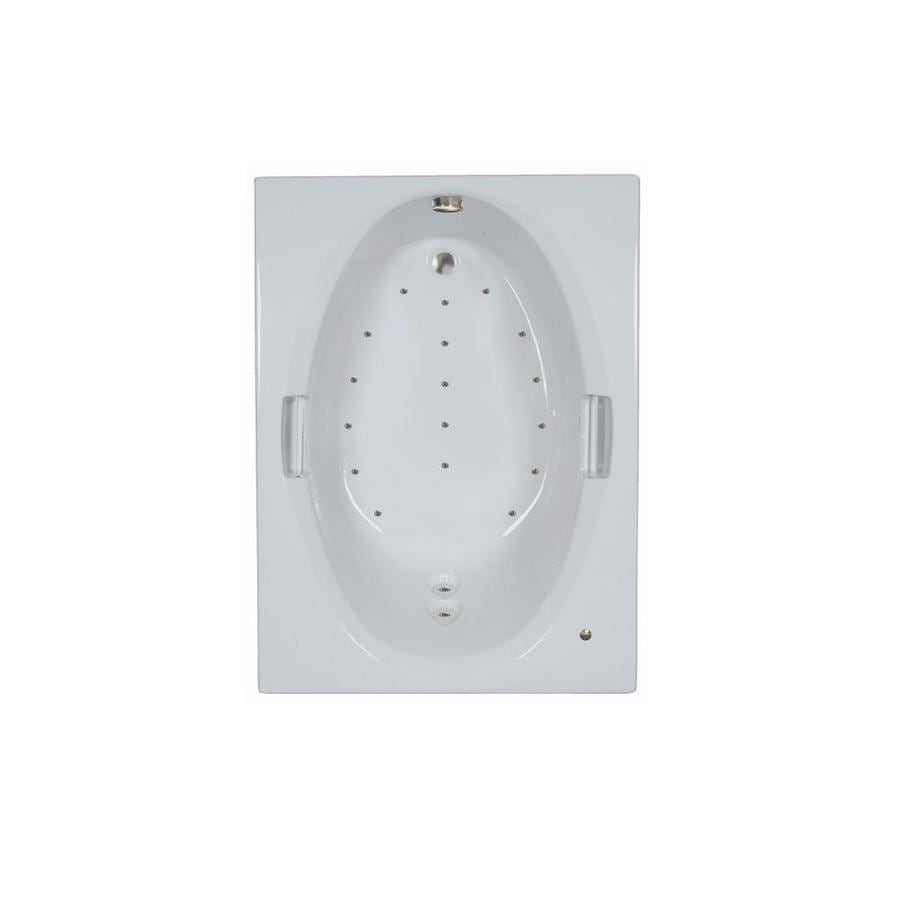 Watertech Whirlpool Baths 60-in White Acrylic Drop-In Air Bath with Reversible Drain