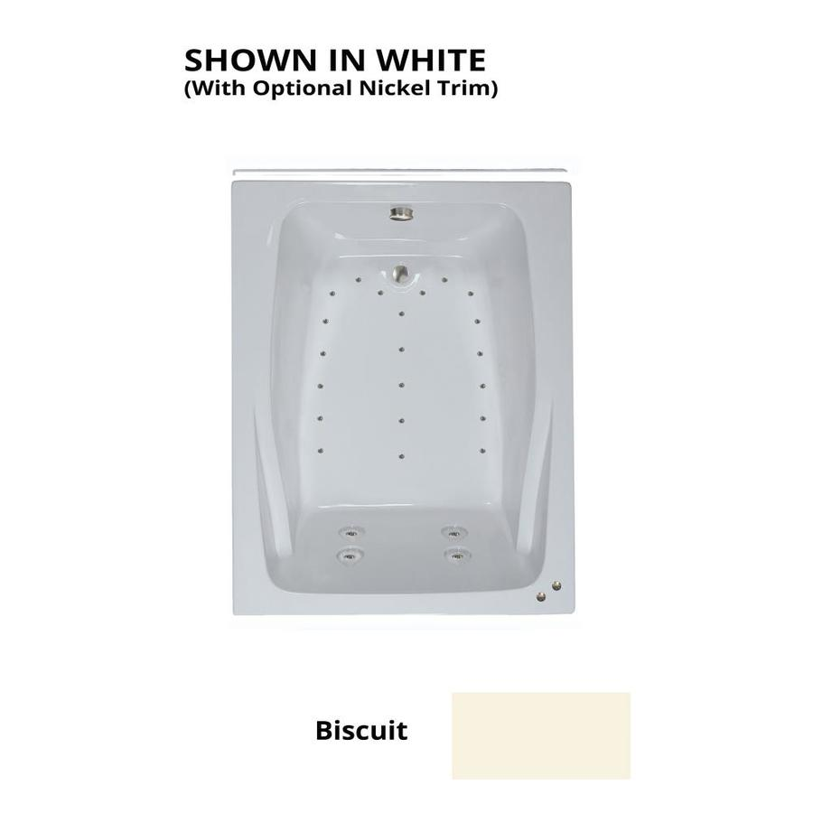 Watertech Whirlpool Baths 60-in L x 48-in W x 24-in H Biscuit Acrylic 2-Person Rectangular Drop-in Air Bath
