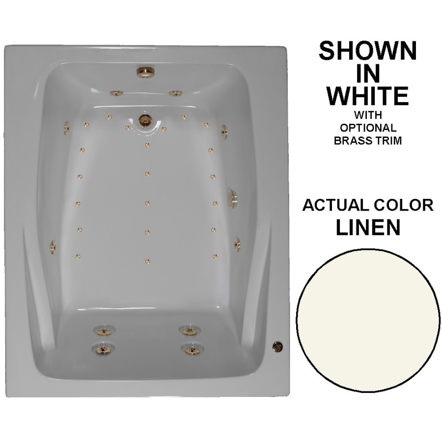 Watertech Whirlpool Baths Designer 60-in Linen Acrylic Drop-In Whirlpool Tub and Air Bath with Reversible Drain