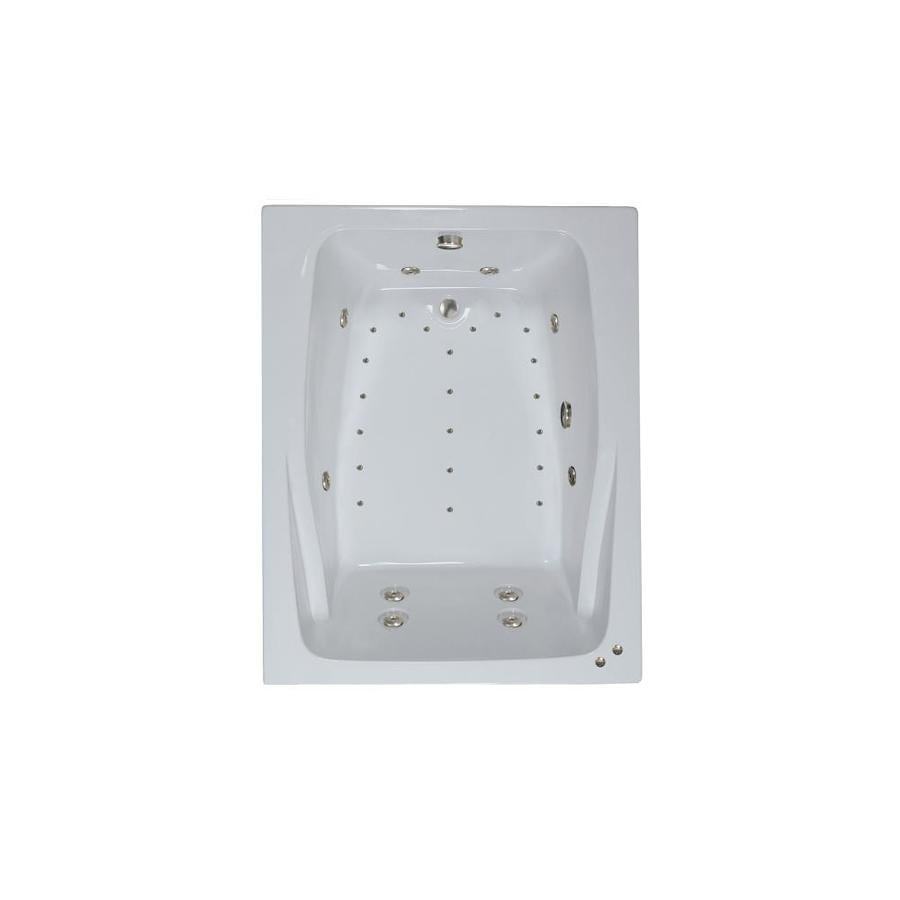 Watertech Whirlpool Baths Designer 60-in White Acrylic Drop-In Whirlpool Tub and Air Bath with Reversible Drain