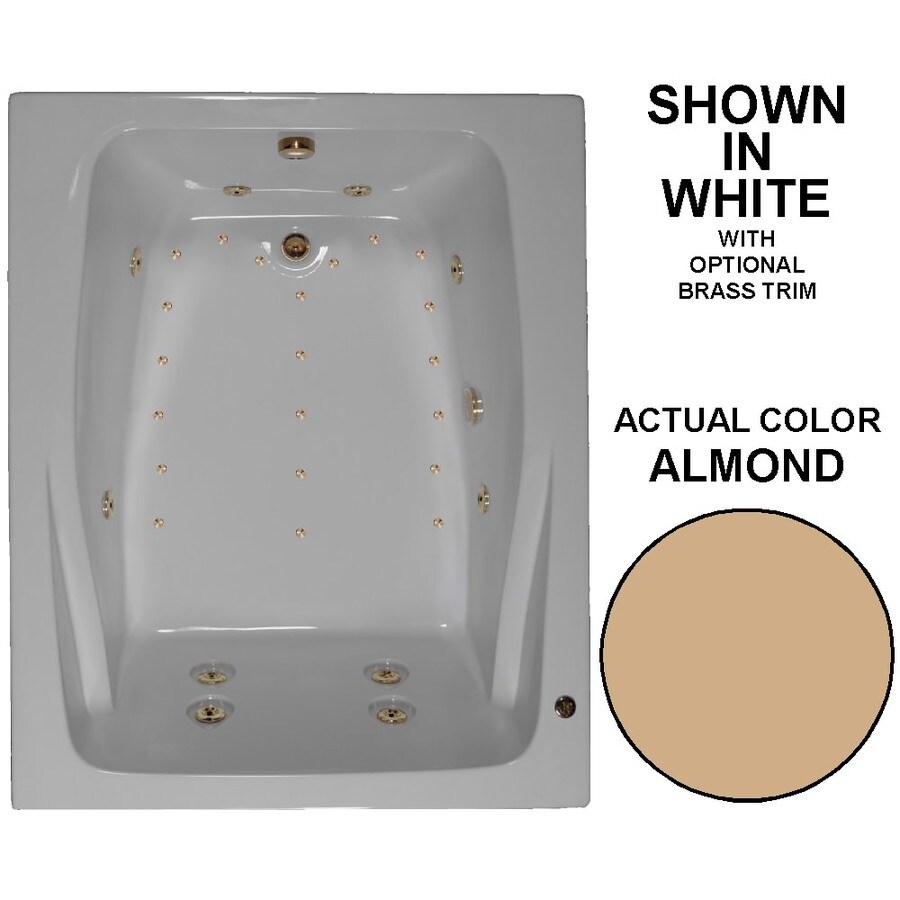 Watertech Whirlpool Baths Designer 60-in L x 48-in W x 24-in H 2-Person Almond Acrylic Rectangular Drop-in Whirlpool Tub and Air Bath