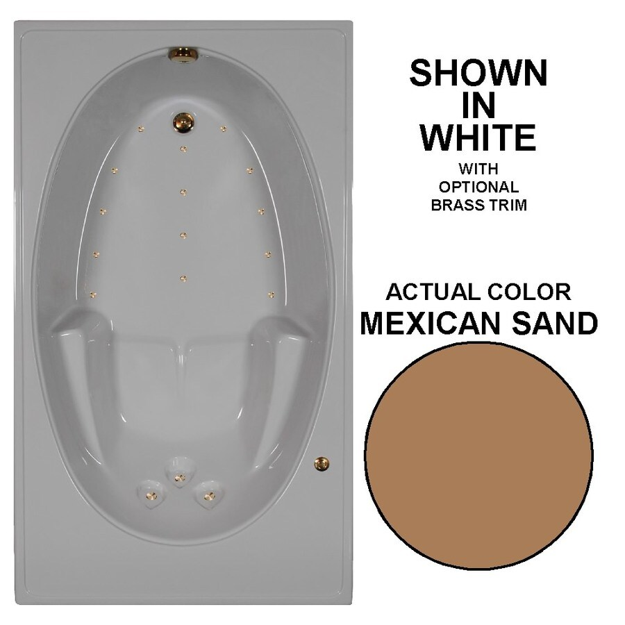 Watertech Whirlpool Baths 72-in Mexican Sand Acrylic Drop-In Air Bath with Reversible Drain