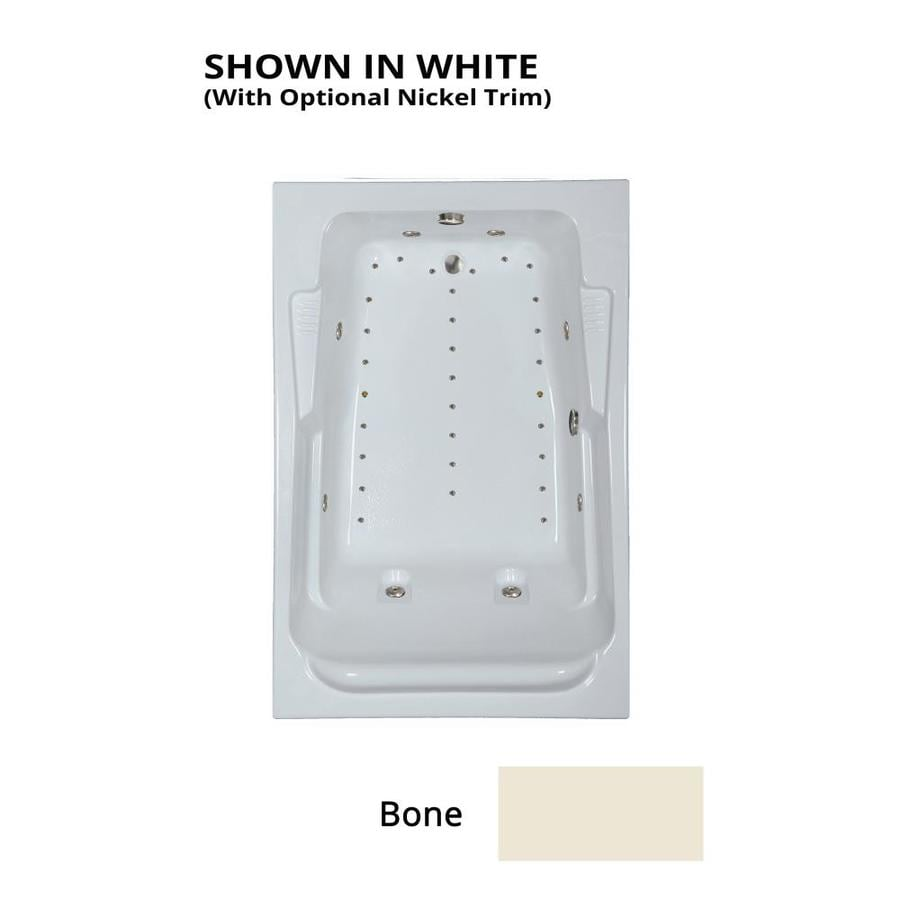 Watertech Whirlpool Baths Designer 72-in Bone Acrylic Drop-In Whirlpool Tub and Air Bath with Reversible Drain
