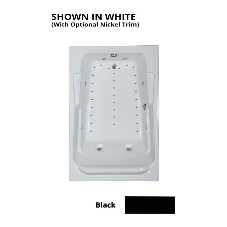 Watertech Whirlpool Baths Designer 72-in L x 48-in W x 22-in H 2-Person Black Acrylic Rectangular Drop-in Whirlpool Tub and Air Bath