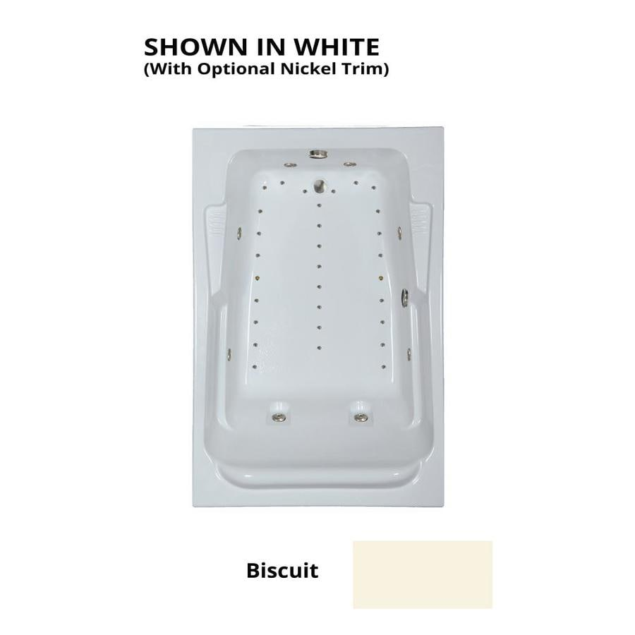 Watertech Whirlpool Baths Designer 72-in L x 48-in W x 22-in H 2-Person Biscuit Acrylic Rectangular Drop-in Whirlpool Tub and Air Bath