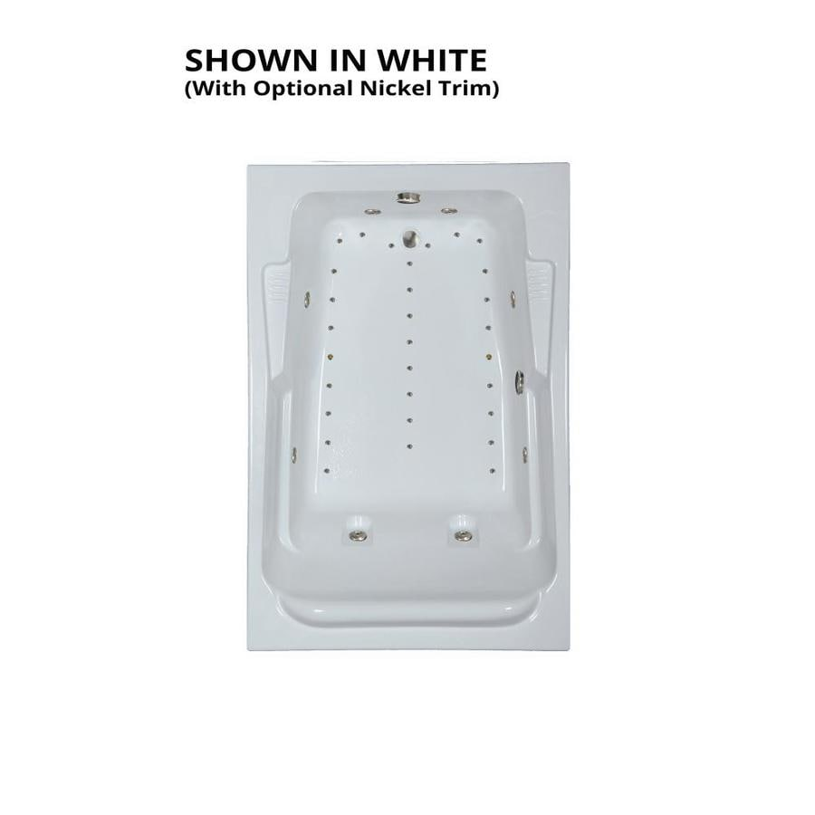Watertech Whirlpool Baths Designer 72-in L x 48-in W x 22-in H 2-Person White Acrylic Rectangular Drop-in Whirlpool Tub and Air Bath