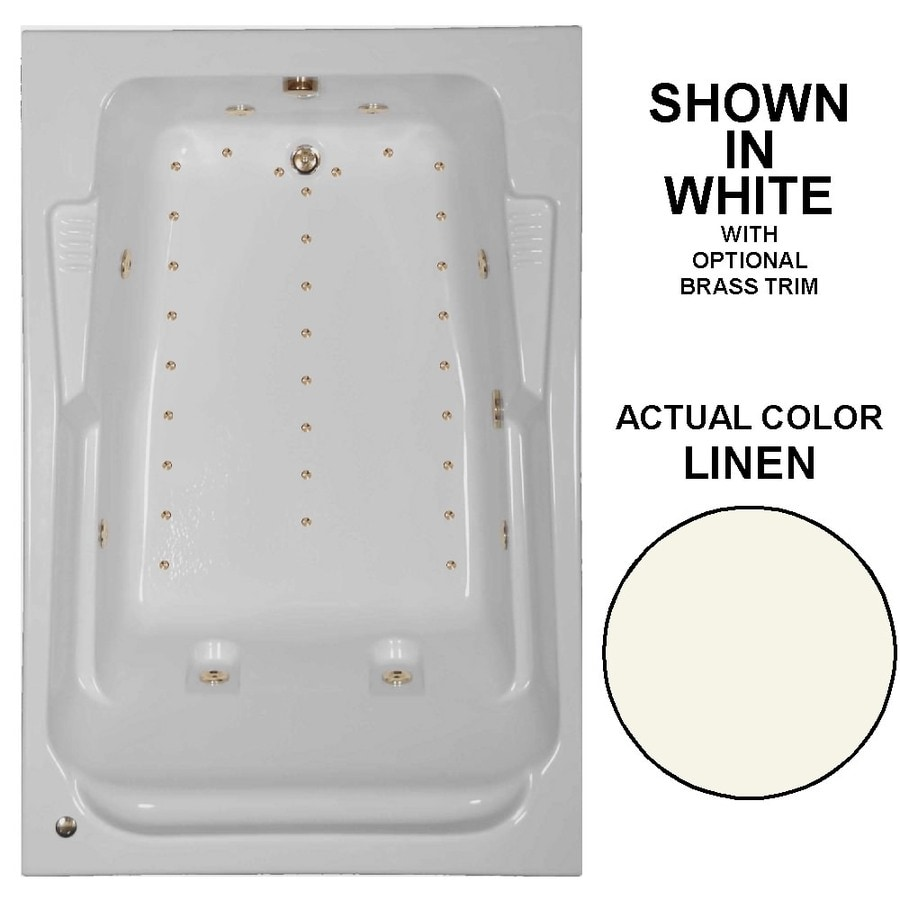 Watertech Whirlpool Baths Designer 72-in Linen Acrylic Drop-In Whirlpool Tub and Air Bath with Reversible Drain