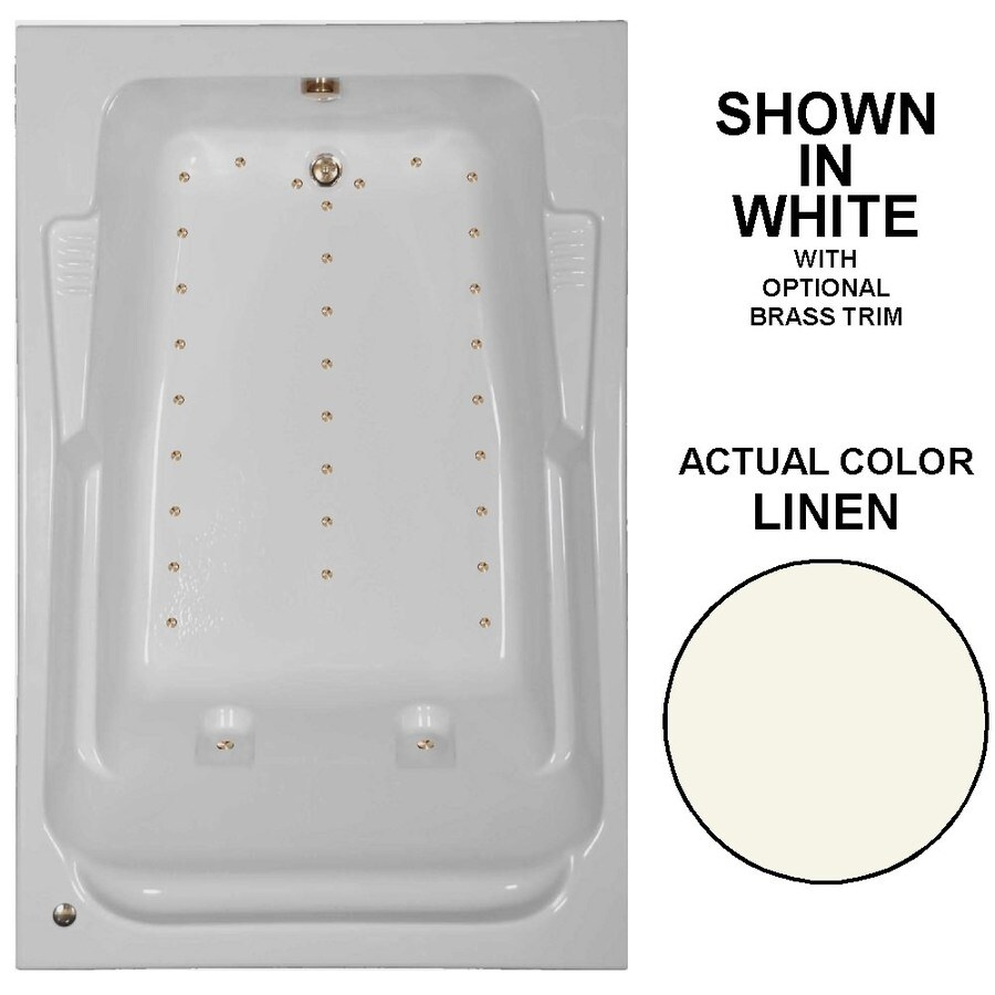 Watertech Whirlpool Baths 72-in L x 48-in W x 23-in H Linen Acrylic 2-Person Rectangular Drop-in Air Bath