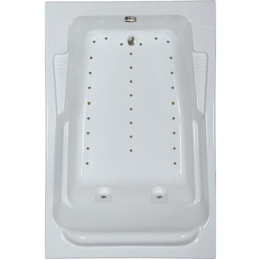 Watertech Whirlpool Baths 72-in L x 48-in W x 23-in H Almond Acrylic 2-Person Rectangular Drop-in Air Bath