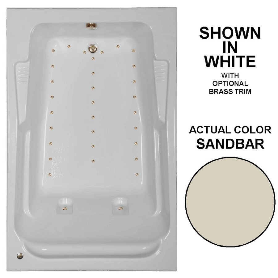 Watertech Whirlpool Baths 72-in L x 48-in W x 23-in H Sandbar Acrylic 2-Person Rectangular Drop-in Air Bath
