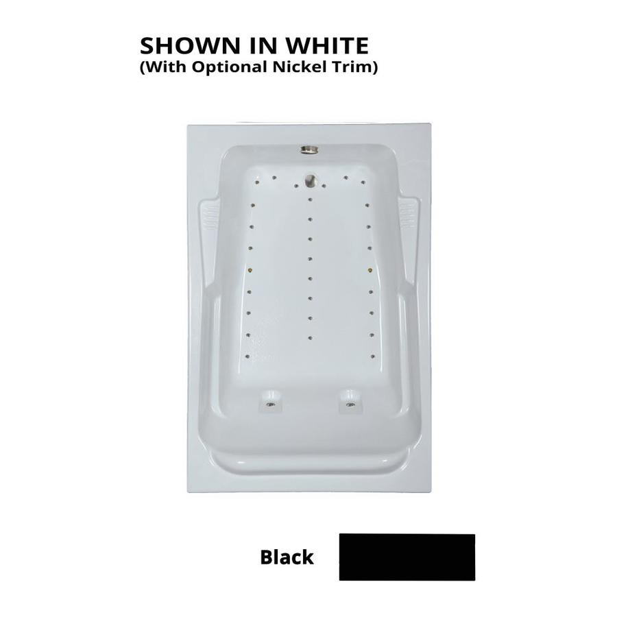 Watertech Whirlpool Baths 72-in L x 48-in W x 23-in H Black Acrylic 2-Person Rectangular Drop-in Air Bath