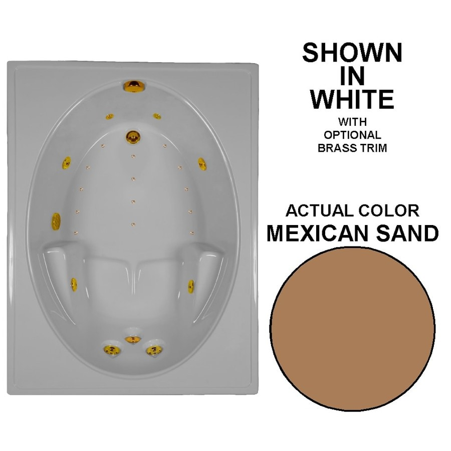 Watertech Whirlpool Baths Designer 60-in L x 42-in W x 20-in H Mexican Sand Acrylic Oval In Rectangle Drop-in Whirlpool Tub and Air Bath